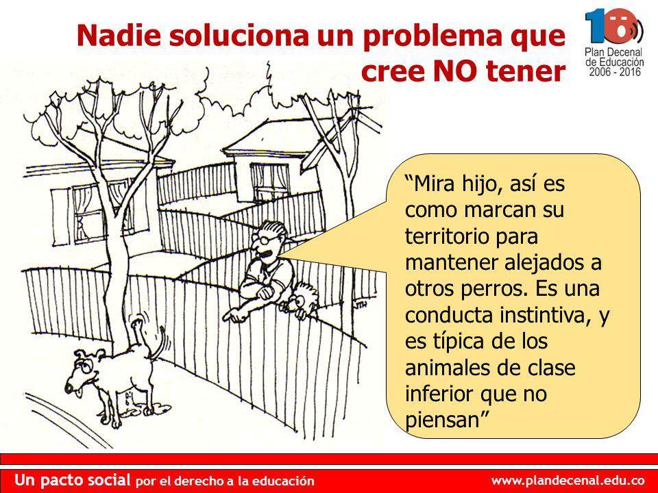 www.plandecenal.edu.co Un pacto social por el derecho a la educación Nadie soluciona un problema que cree NO tener Mira hijo, así es como marcan su te