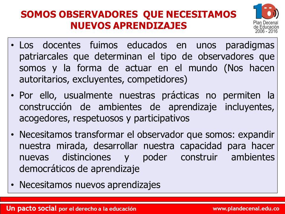 www.plandecenal.edu.co Un pacto social por el derecho a la educación SOMOS OBSERVADORES QUE NECESITAMOS NUEVOS APRENDIZAJES Los docentes fuimos educad