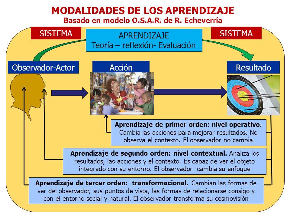 www.plandecenal.edu.co Un pacto social por el derecho a la educación MODALIDADES DE LOS APRENDIZAJE Basado en modelo O.S.A.R. de R. Echeverría Observa
