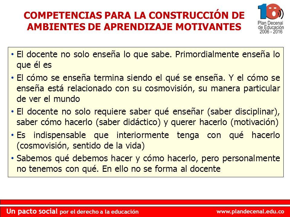 www.plandecenal.edu.co Un pacto social por el derecho a la educación COMPETENCIAS PARA LA CONSTRUCCIÓN DE AMBIENTES DE APRENDIZAJE MOTIVANTES El docen