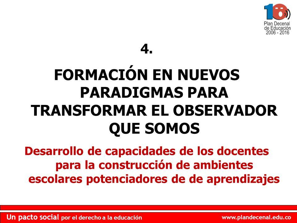 www.plandecenal.edu.co Un pacto social por el derecho a la educación 4. FORMACIÓN EN NUEVOS PARADIGMAS PARA TRANSFORMAR EL OBSERVADOR QUE SOMOS Desarr