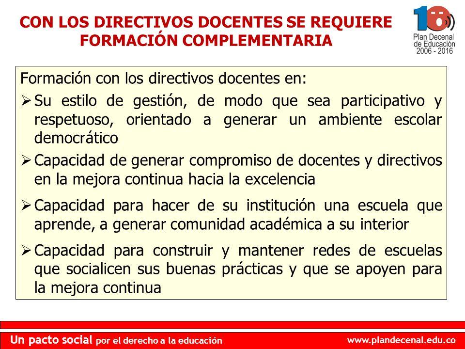 www.plandecenal.edu.co Un pacto social por el derecho a la educación Formación con los directivos docentes en: Su estilo de gestión, de modo que sea p
