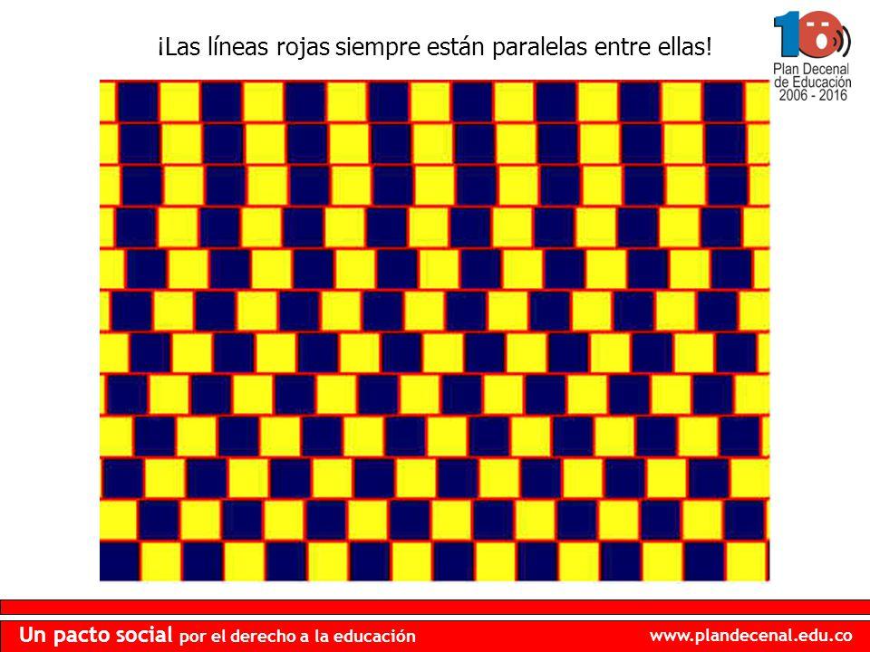 www.plandecenal.edu.co Un pacto social por el derecho a la educación ¡Las líneas rojas siempre están paralelas entre ellas!