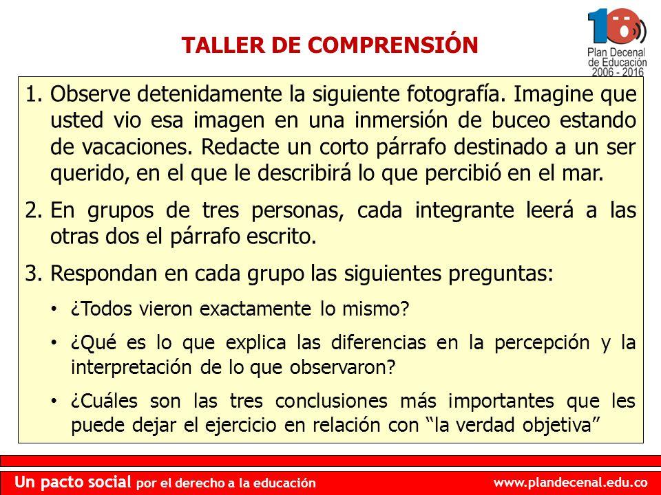 www.plandecenal.edu.co Un pacto social por el derecho a la educación TALLER DE COMPRENSIÓN 1.Observe detenidamente la siguiente fotografía. Imagine qu