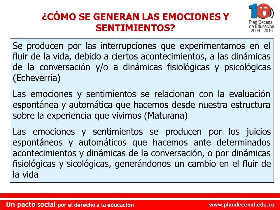 www.plandecenal.edu.co Un pacto social por el derecho a la educación ¿CÓMO SE GENERAN LAS EMOCIONES Y SENTIMIENTOS? Se producen por las interrupciones