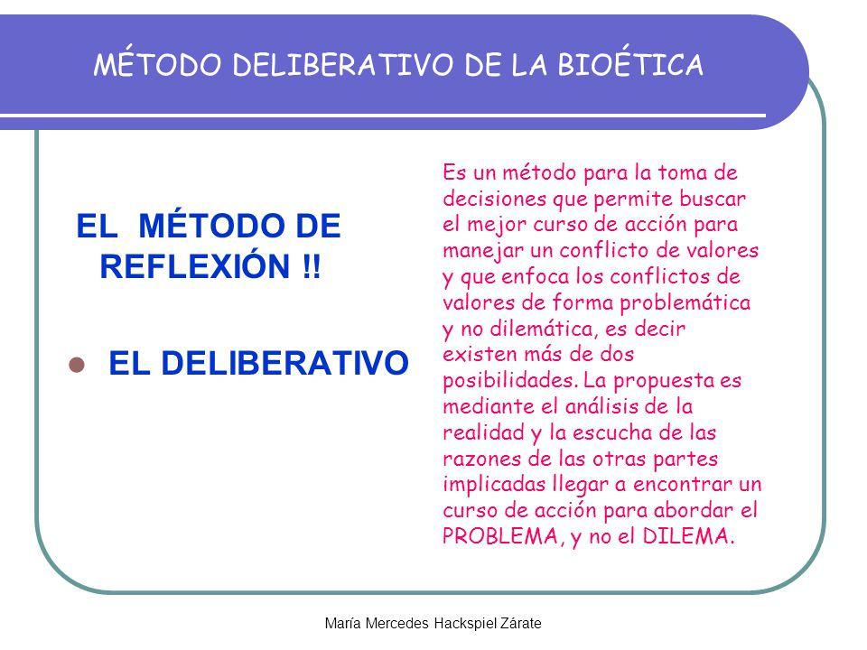 MÉTODO DELIBERATIVO DE LA BIOÉTICA EL MÉTODO DE REFLEXIÓN !.