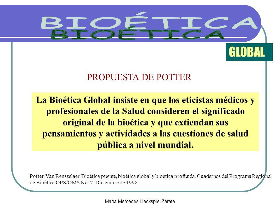 María Mercedes Hackspiel Zárate PROPUESTA DE POTTER GLOBAL Potter, Van Rensselaer. Bioética puente, bioética global y bioética profunda. Cuadernos del