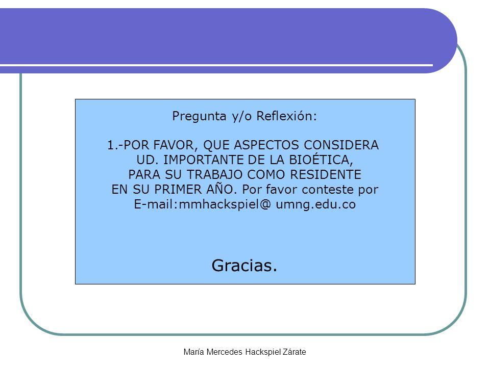 María Mercedes Hackspiel Zárate Pregunta y/o Reflexión: 1.-POR FAVOR, QUE ASPECTOS CONSIDERA UD.
