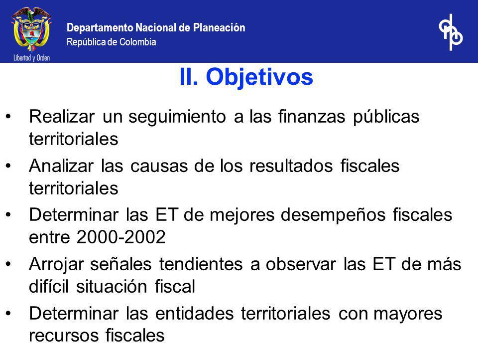 Departamento Nacional de Planeación República de Colombia Indicador sintético de desempeño fiscal : Con los indicadores anteriores se construyó un indicador sintético, mediante la técnica multivariada de componentes principales.