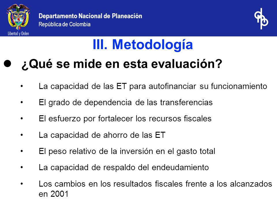Departamento Nacional de Planeación República de Colombia Ranking Municipal de Desempeño fiscal 2002 : Mejores municipios en cada departamento 2002