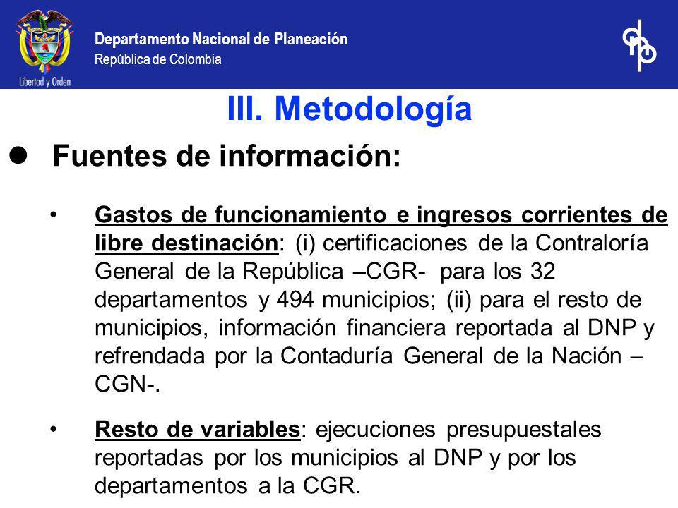 Departamento Nacional de Planeación República de Colombia Diferencias con el informe de MinHacienda –departamentos- III.