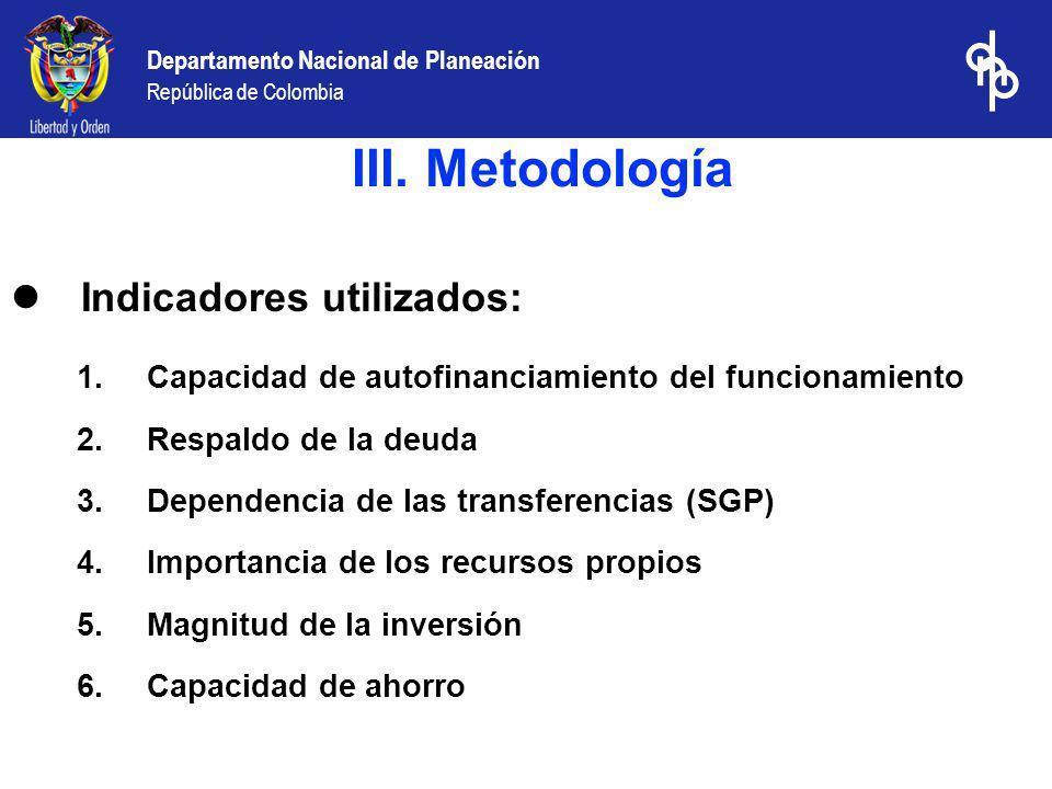 Departamento Nacional de Planeación República de Colombia Indicadores utilizados 1.Capacidad de autofinanciamiento del funcionamiento: Gasto de funcionamiento ------------------------------------------------------------ ingresos corrientes de libre destinación Mide la capacidad de la entidad territorial para cubrir el gasto de funcionamiento de la administración central con sus rentas de libre destinación, de acuerdo con los límites al gasto señalados en la ley 617/00.