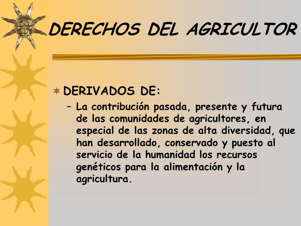 DERECHOS DEL AGRICULTOR DERIVADOS DE: –La contribución pasada, presente y futura de las comunidades de agricultores, en especial de las zonas de alta
