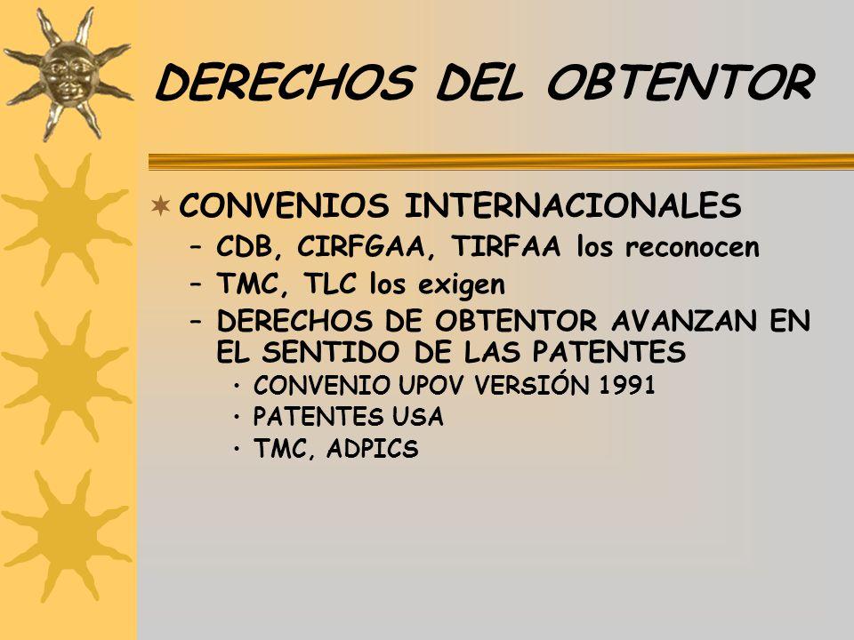 DERECHOS DEL OBTENTOR CONVENIOS INTERNACIONALES –CDB, CIRFGAA, TIRFAA los reconocen –TMC, TLC los exigen –DERECHOS DE OBTENTOR AVANZAN EN EL SENTIDO D