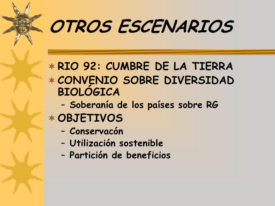 OTROS ESCENARIOS RIO 92: CUMBRE DE LA TIERRA CONVENIO SOBRE DIVERSIDAD BIOLÓGICA –Soberanía de los países sobre RG OBJETIVOS –Conservacón –Utilización