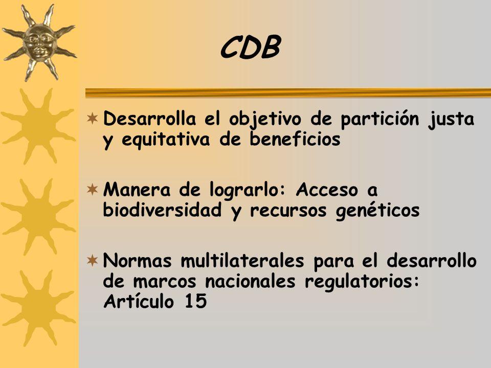 CDB Desarrolla el objetivo de partición justa y equitativa de beneficios Manera de lograrlo: Acceso a biodiversidad y recursos genéticos Normas multil