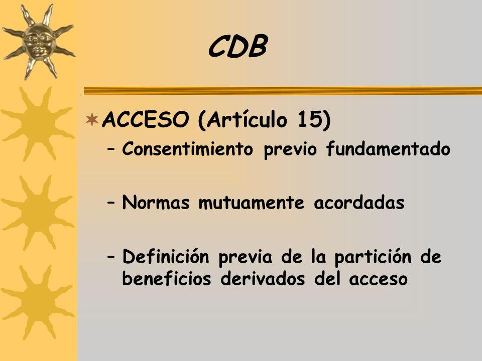 CDB ACCESO (Artículo 15) –Consentimiento previo fundamentado –Normas mutuamente acordadas –Definición previa de la partición de beneficios derivados d