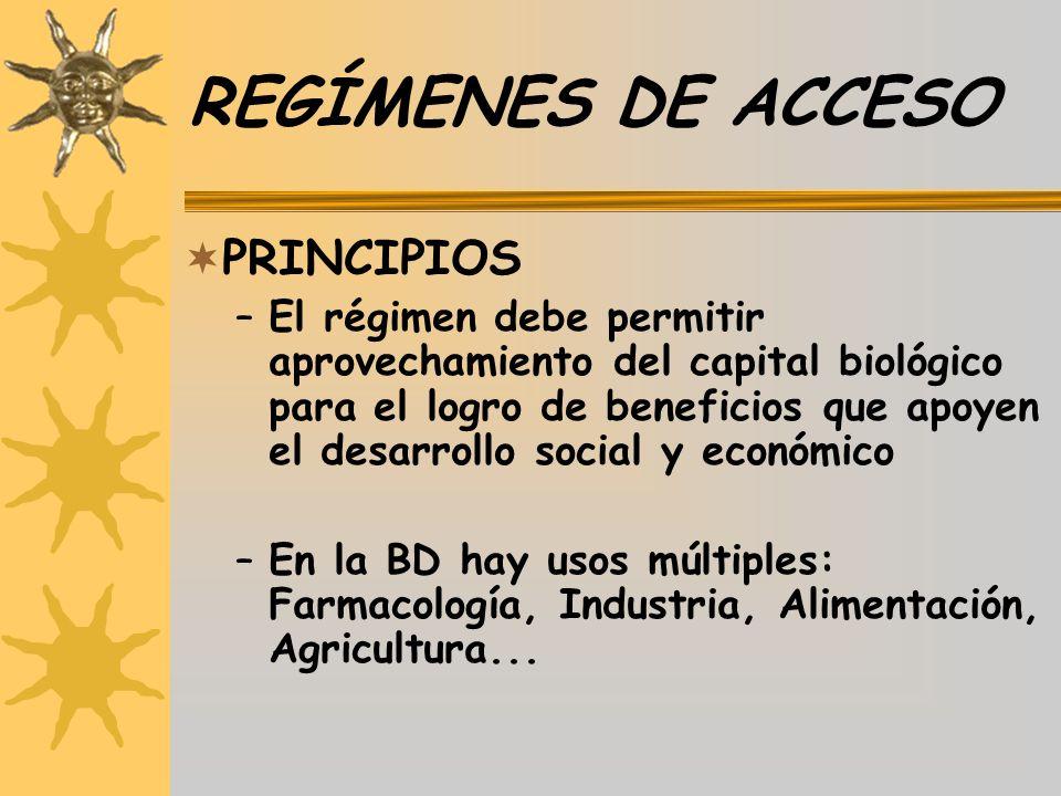 REGÍMENES DE ACCESO PRINCIPIOS –El régimen debe permitir aprovechamiento del capital biológico para el logro de beneficios que apoyen el desarrollo so