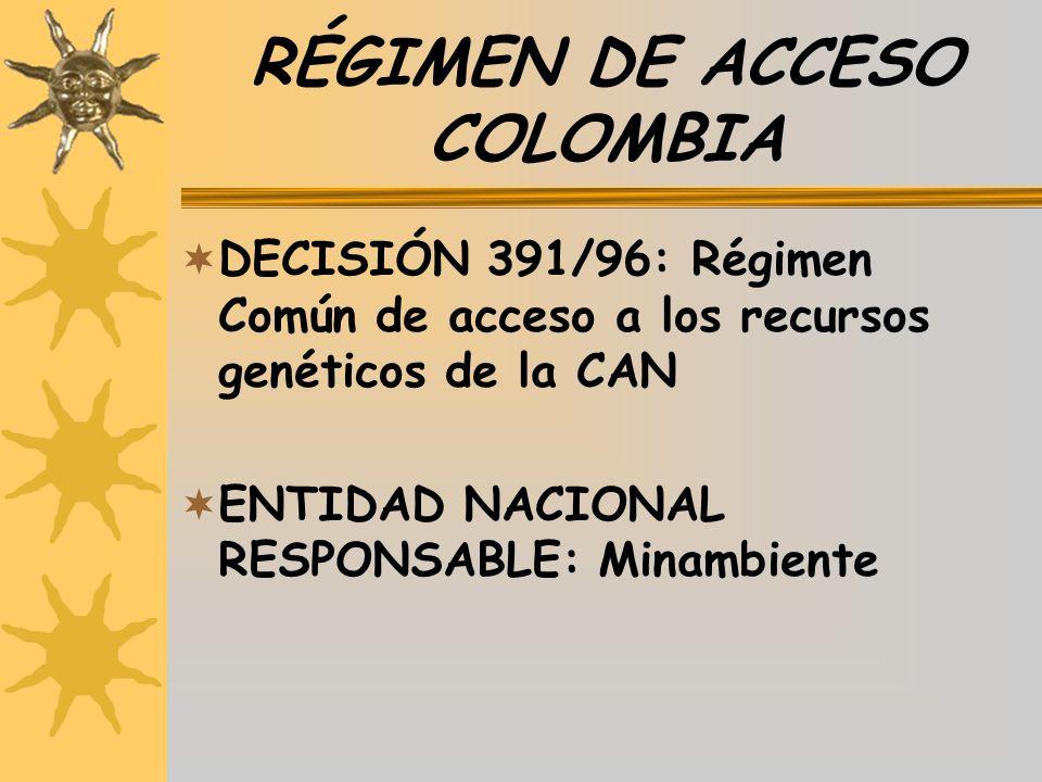 RÉGIMEN DE ACCESO COLOMBIA DECISIÓN 391/96: Régimen Común de acceso a los recursos genéticos de la CAN ENTIDAD NACIONAL RESPONSABLE: Minambiente