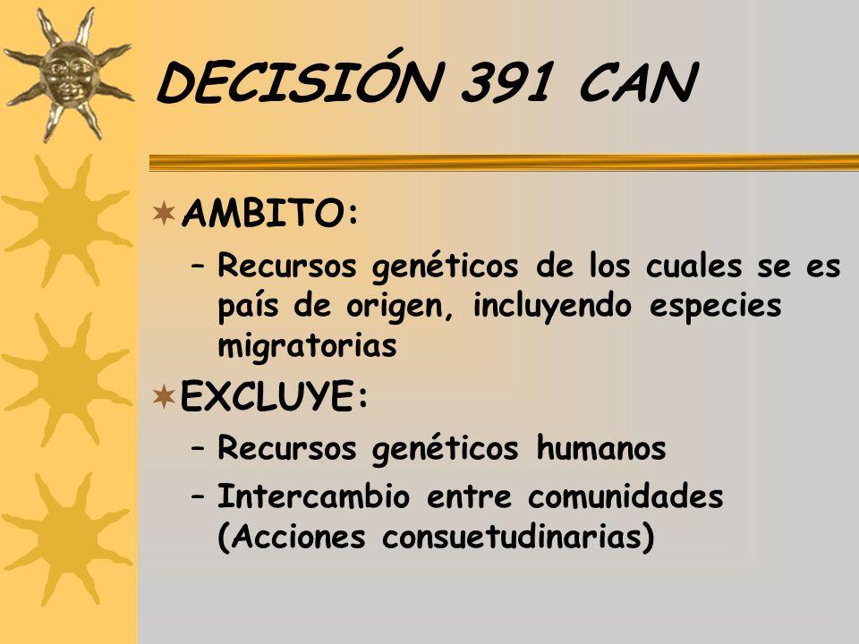 DECISIÓN 391 CAN AMBITO: –Recursos genéticos de los cuales se es país de origen, incluyendo especies migratorias EXCLUYE: –Recursos genéticos humanos