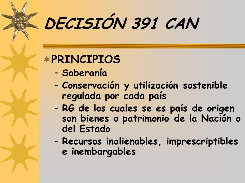 DECISIÓN 391 CAN PRINCIPIOS –Soberanía –Conservación y utilización sostenible regulada por cada país –RG de los cuales se es país de origen son bienes