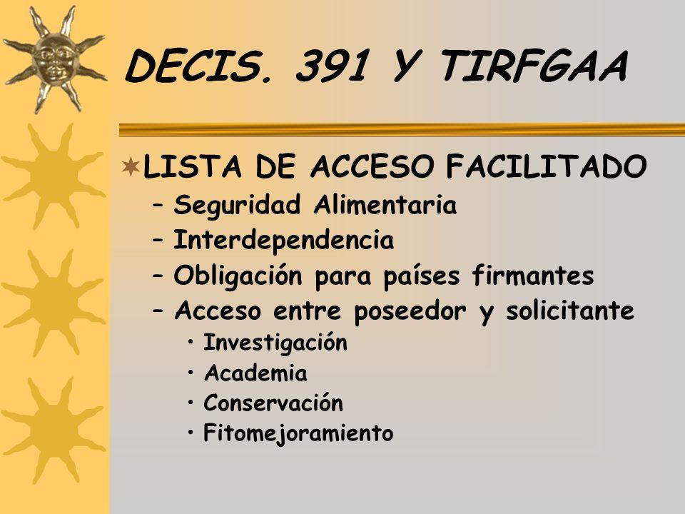 DECIS. 391 Y TIRFGAA LISTA DE ACCESO FACILITADO –Seguridad Alimentaria –Interdependencia –Obligación para países firmantes –Acceso entre poseedor y so
