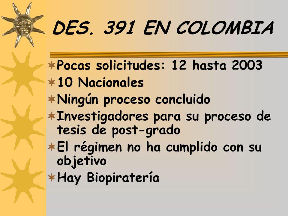 DES. 391 EN COLOMBIA Pocas solicitudes: 12 hasta 2003 10 Nacionales Ningún proceso concluido Investigadores para su proceso de tesis de post-grado El