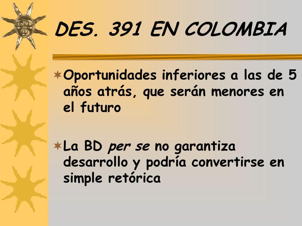 DES. 391 EN COLOMBIA Oportunidades inferiores a las de 5 años atrás, que serán menores en el futuro La BD per se no garantiza desarrollo y podría conv
