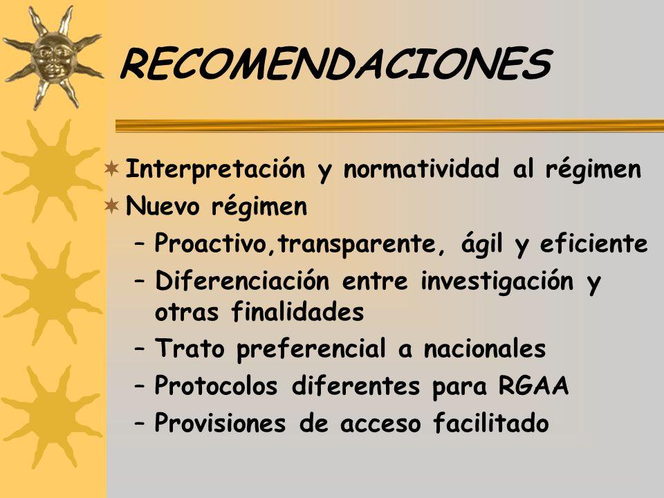 RECOMENDACIONES Interpretación y normatividad al régimen Nuevo régimen –Proactivo,transparente, ágil y eficiente –Diferenciación entre investigación y