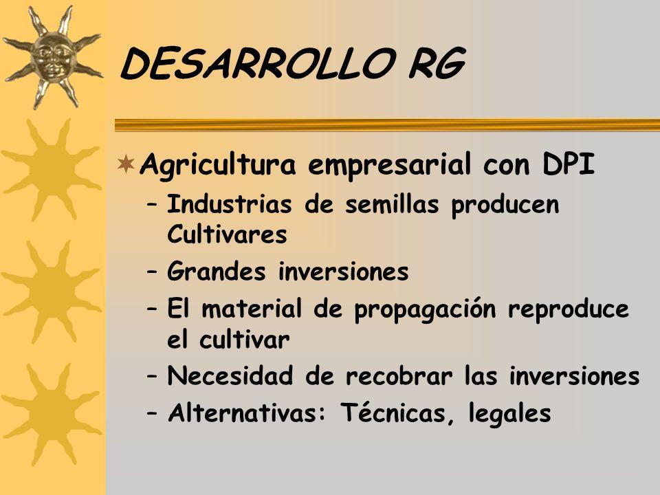DESARROLLO RG Agricultura empresarial con DPI –Industrias de semillas producen Cultivares –Grandes inversiones –El material de propagación reproduce e