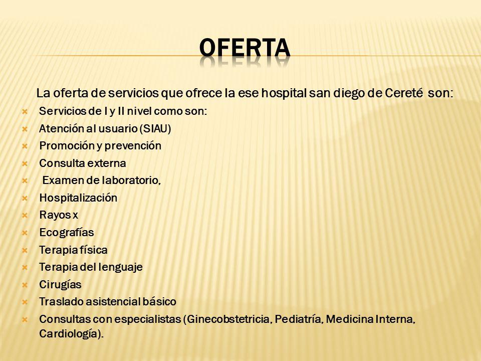La oferta de servicios que ofrece la ese hospital san diego de Cereté son: Servicios de I y II nivel como son: Atención al usuario (SIAU) Promoción y