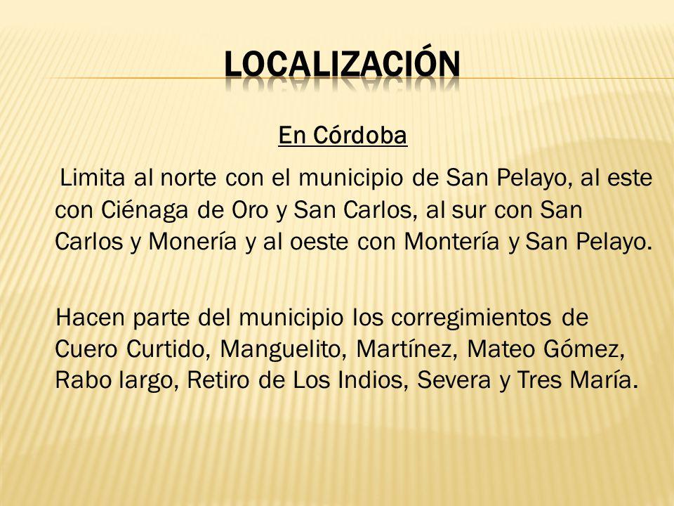 En Córdoba Limita al norte con el municipio de San Pelayo, al este con Ciénaga de Oro y San Carlos, al sur con San Carlos y Monería y al oeste con Mon