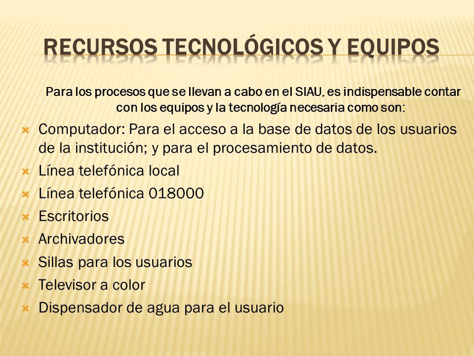 Para los procesos que se llevan a cabo en el SIAU, es indispensable contar con los equipos y la tecnología necesaria como son: Computador: Para el acc