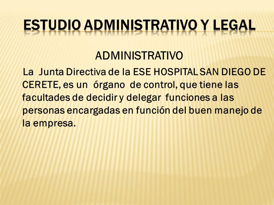 ADMINISTRATIVO La Junta Directiva de la ESE HOSPITAL SAN DIEGO DE CERETE, es un órgano de control, que tiene las facultades de decidir y delegar funci