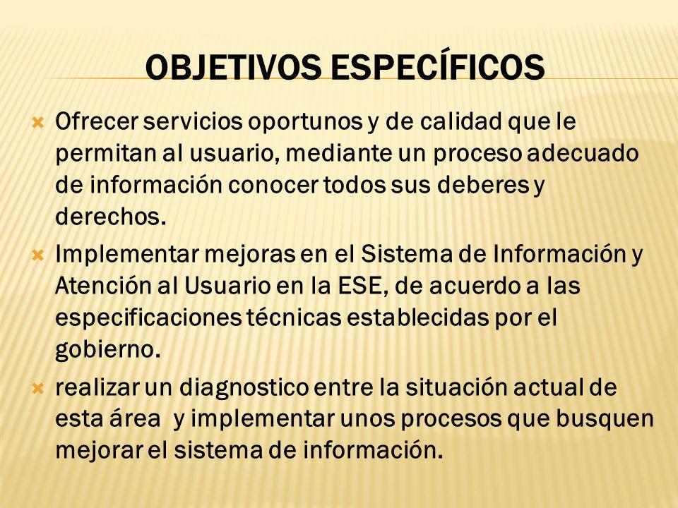 OBJETIVOS ESPECÍFICOS Ofrecer servicios oportunos y de calidad que le permitan al usuario, mediante un proceso adecuado de información conocer todos s