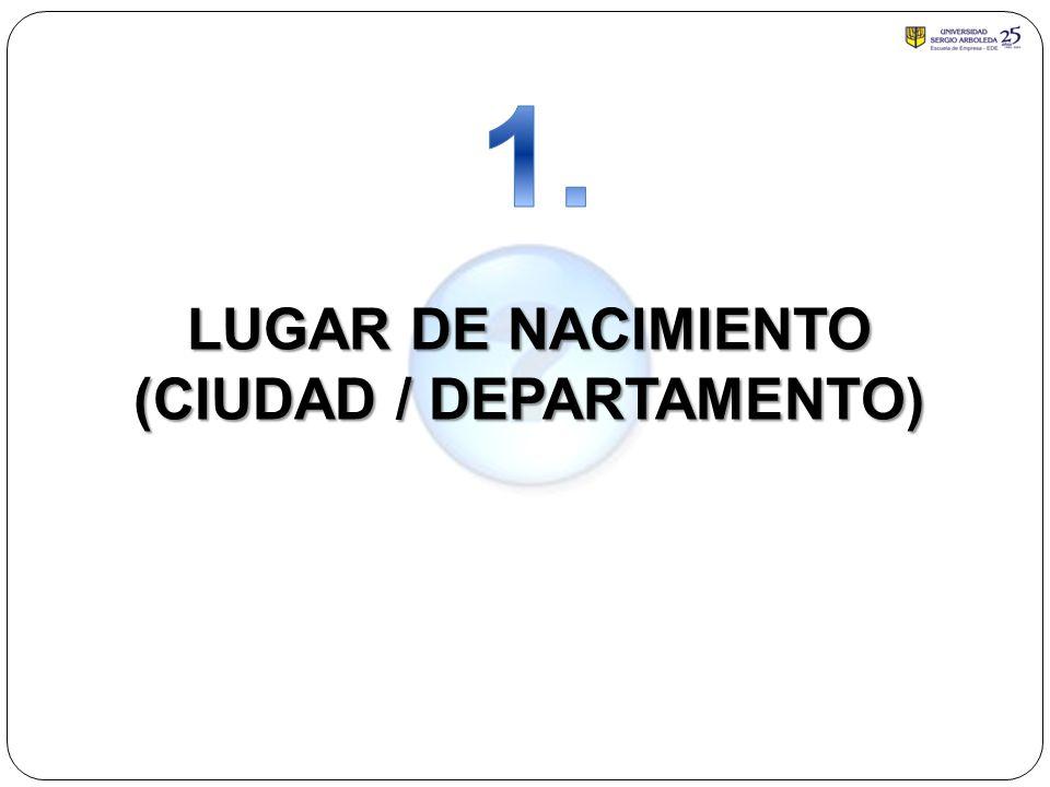 LUGAR DE NACIMIENTO (CIUDAD / DEPARTAMENTO)