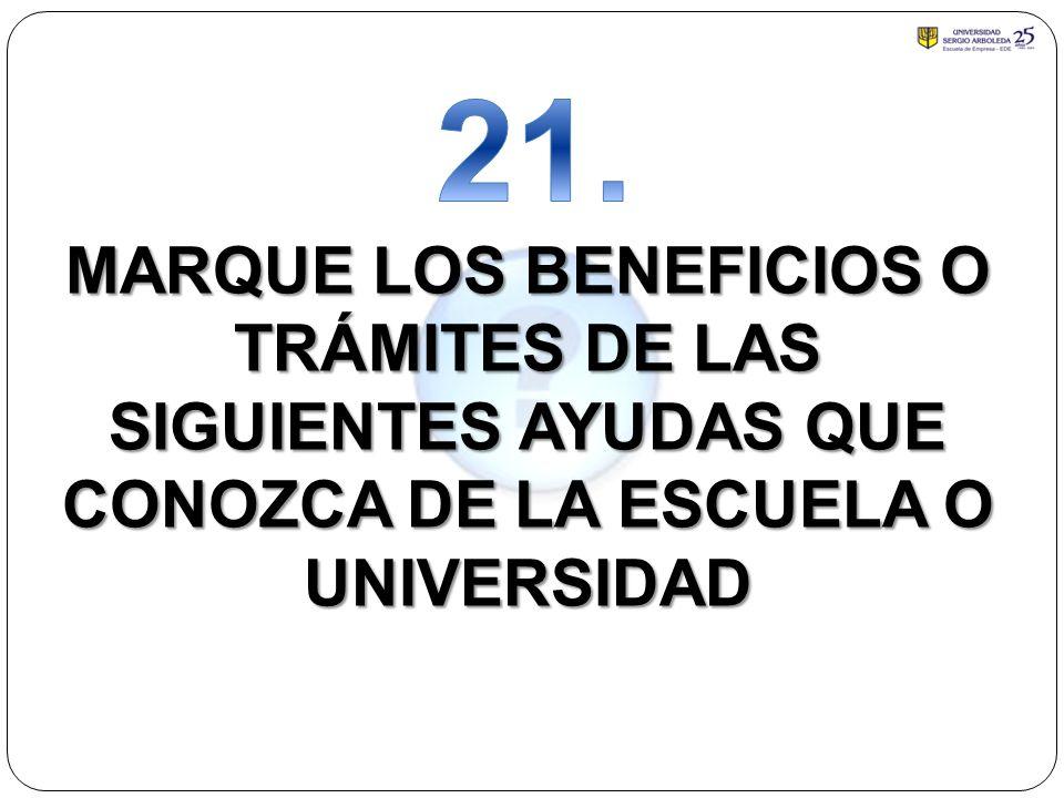 MARQUE LOS BENEFICIOS O TRÁMITES DE LAS SIGUIENTES AYUDAS QUE CONOZCA DE LA ESCUELA O UNIVERSIDAD