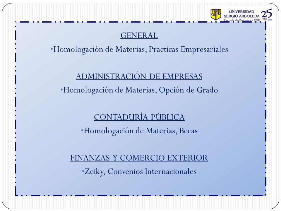 GENERAL Homologación de Materias, Practicas Empresariales ADMINISTRACIÓN DE EMPRESAS Homologación de Materias, Opción de Grado CONTADURÍA PÚBLICA Homo