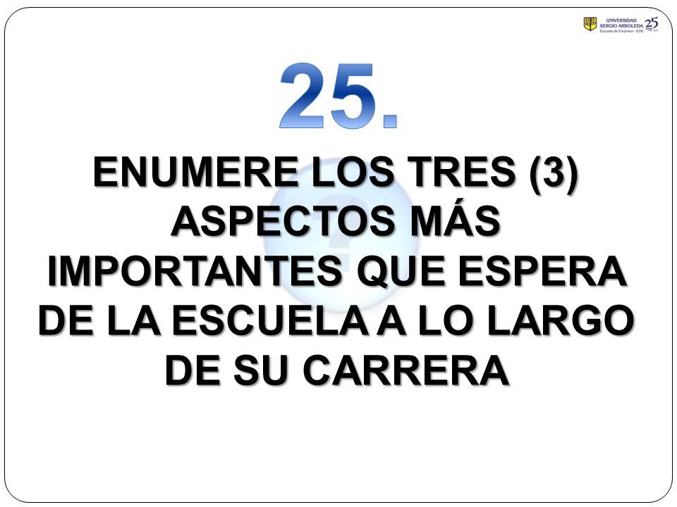 ENUMERE LOS TRES (3) ASPECTOS MÁS IMPORTANTES QUE ESPERA DE LA ESCUELA A LO LARGO DE SU CARRERA
