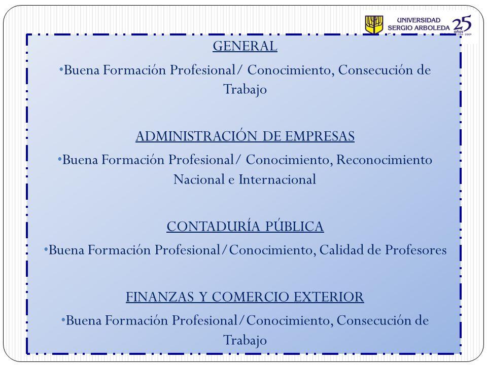 GENERAL Buena Formación Profesional/ Conocimiento, Consecución de Trabajo ADMINISTRACIÓN DE EMPRESAS Buena Formación Profesional/ Conocimiento, Recono
