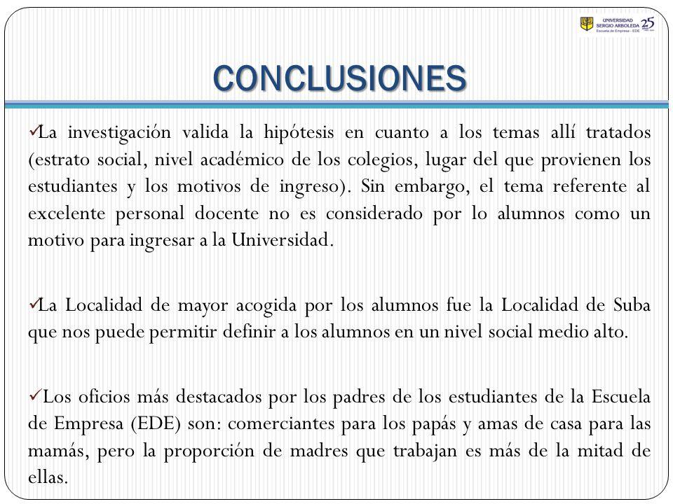 CONCLUSIONES La investigación valida la hipótesis en cuanto a los temas allí tratados (estrato social, nivel académico de los colegios, lugar del que