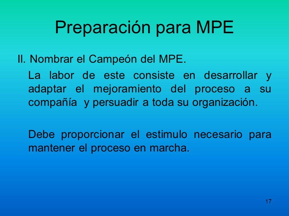 16 Preparación para MPE Actividades Principales del EEM: 5. Desarrollo de Objetivos preliminares: - Deben Abordar aspectos: Efectividad: Satisfacción