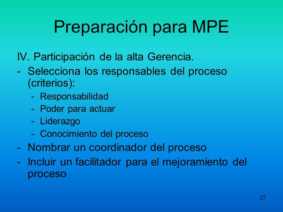 26 Preparación para MPE Visión General del proceso: - Proveedores (inputs) - Clientes (outputs): Primarios, Secundarios, Indirectos, Externos y Consum