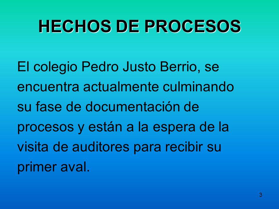 3 HECHOS DE PROCESOS El colegio Pedro Justo Berrio, se encuentra actualmente culminando su fase de documentación de procesos y están a la espera de la visita de auditores para recibir su primer aval.