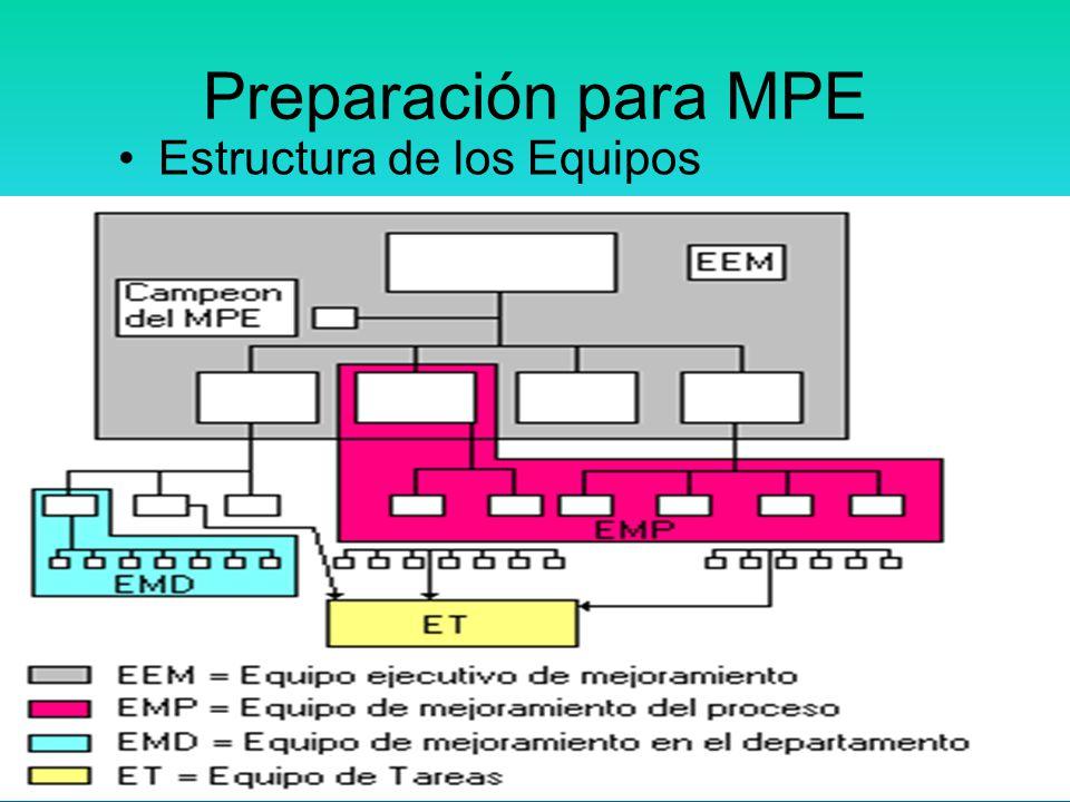 44 En las actividades de MPE participan muchos tipos de equipos. Tipos de equipos: Equipo ejecutivo de mejoramiento (EEM) Equipo de mejoramiento del p