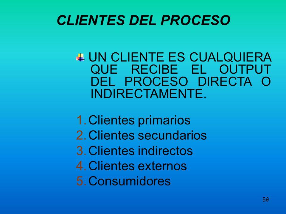 58 Quiénes son los proveedores de los inputs del proceso Quiénes son los clientes de los outputs del proceso Con qué otros procesos se interactúa VISI