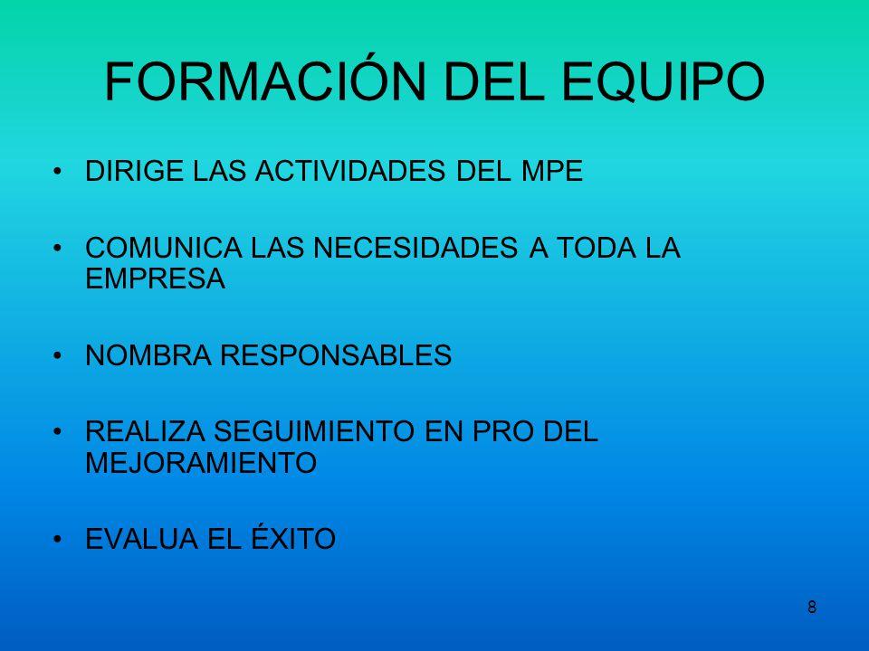 18 Preparación para MPE Actividades principales del campeón del MPE: 1.Determinar el alcance de las actividades del MPE.