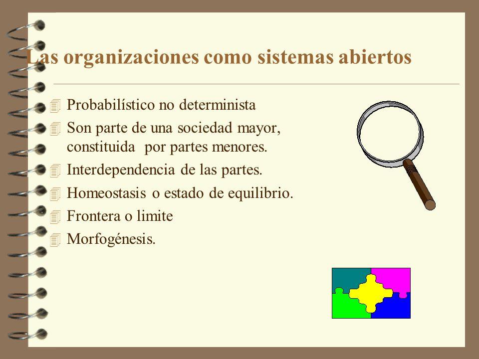 Las organizaciones como sistemas abiertos 4 Probabilístico no determinista 4 Son parte de una sociedad mayor, constituida por partes menores. 4 Interd