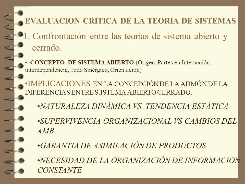 EVALUACION CRITICA DE LA TEORIA DE SISTEMAS 1. Confrontación entre las teorías de sistema abierto y cerrado. CONCEPTO DE SISTEMA ABIERTO (Origen, Part