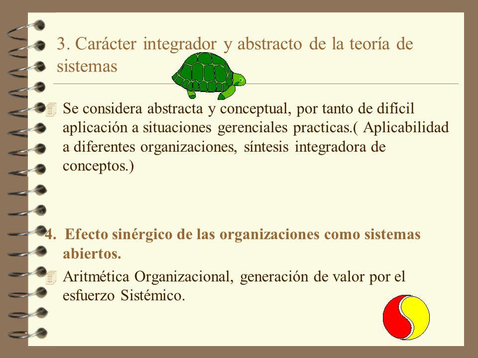 3. Carácter integrador y abstracto de la teoría de sistemas 4 Se considera abstracta y conceptual, por tanto de difícil aplicación a situaciones geren